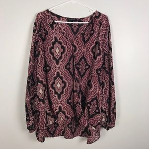 Lily black purple geometric print blouse 3x